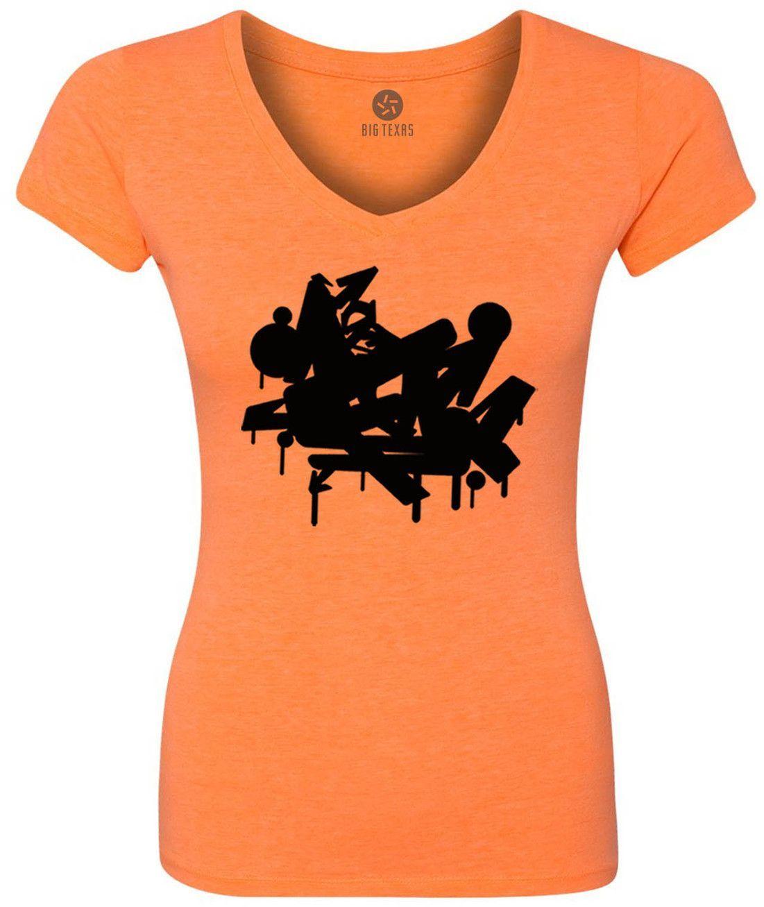 Graffiti (Black) Women's Short-Sleeve V-Neck T-Shirt