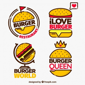 Download Pack Of Four Burger Logo With Red Details for