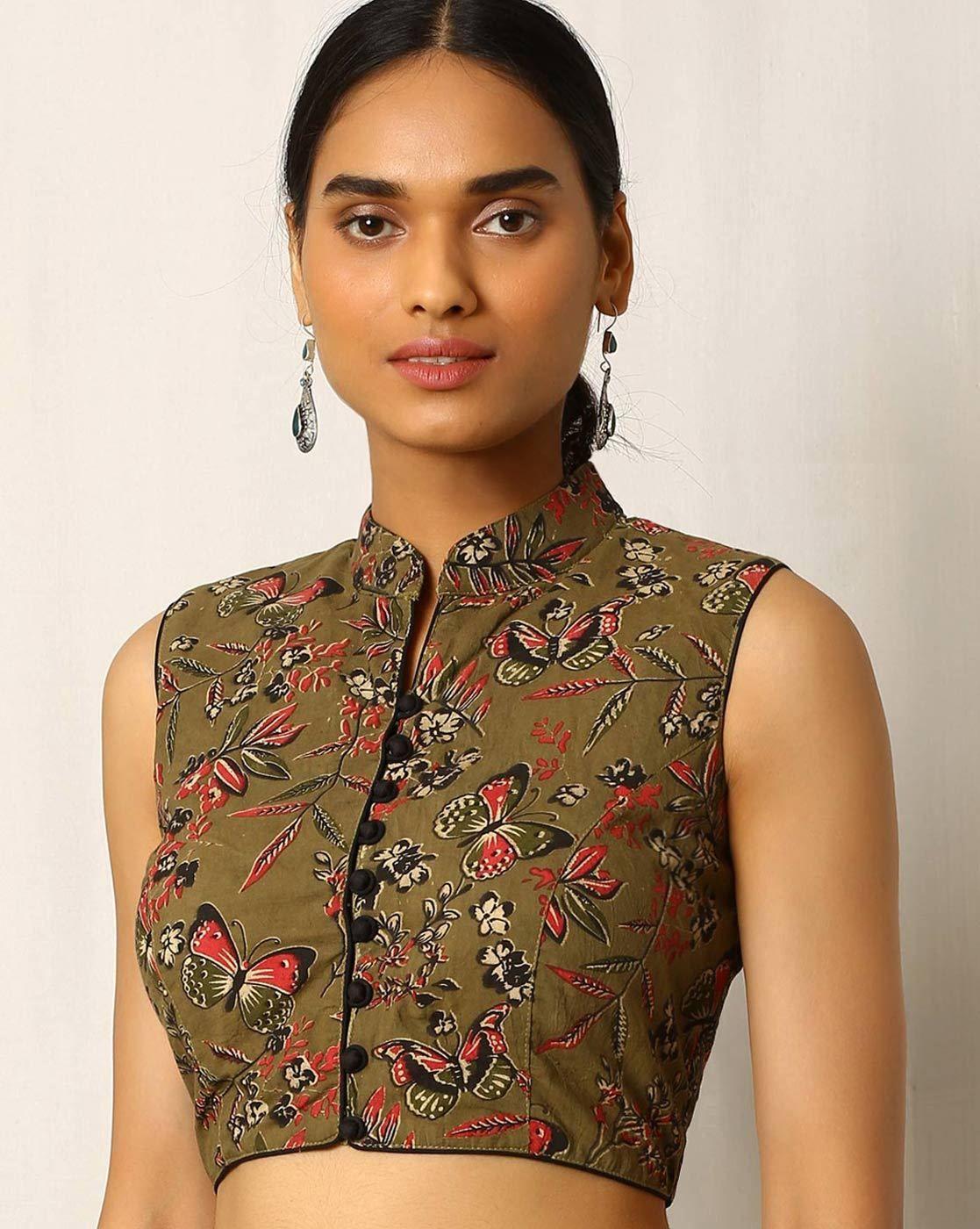 451349e5016292 Buy Olive Green Indie Picks Kalamkari Print Sleeveless Cotton Blouse Saree  Jacket Designs