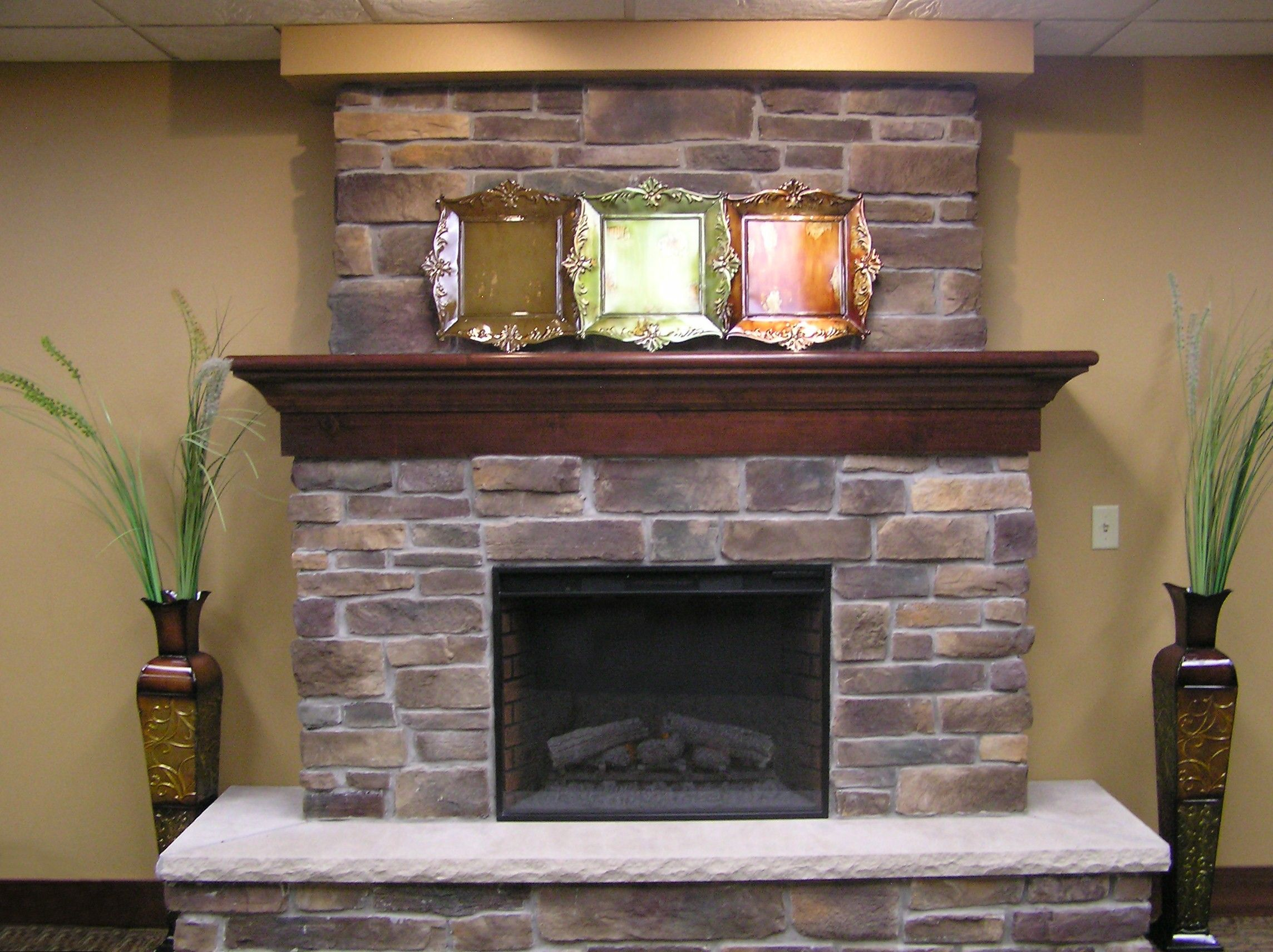 inspiration gas fireplace with stone surround. Decorating Your Fireplace with Concrete Mantels wrap around hearth  Pinterest Hearths Direct