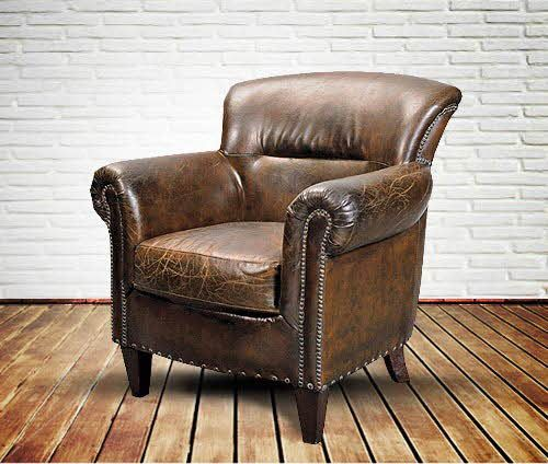 Old English Vintage Leather Armchair For Reading And A