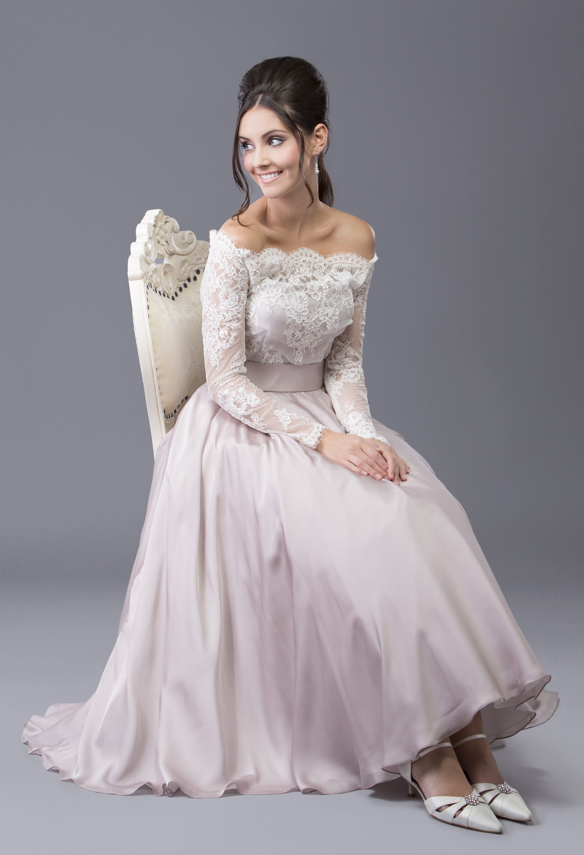 Aurora - beautiful silk chiffon tea length gown ( also available ...
