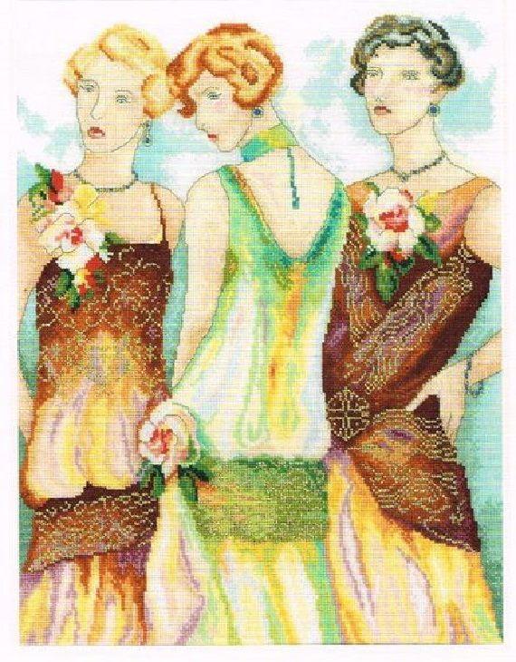 0 point de croix charleston ladies by lanarte - cross stitch