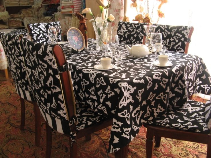 Dining Chair Covers Butteryfly Pattern With Black And White Color
