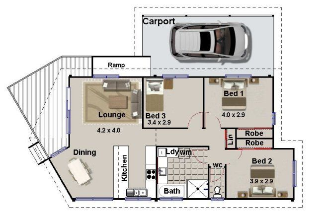 3 Bed Floor Plan With Carport House Plans Australia Bedroom