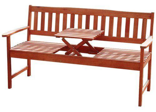 Gartenbank holz mit tisch  Gartenbank Holz Mit Integriertem Tisch Massuvem Eukalyptus ...