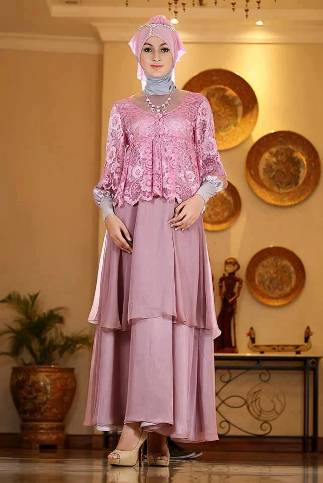 Long Dress baju muslim pesta Dusty Pink