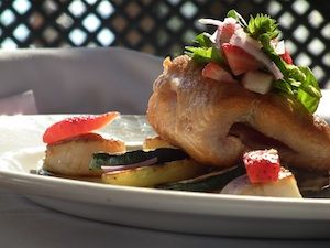 Oven Roasted Salmon and Scallops with Grilled New Potatoes and Zucchini Pickled Strawberry and Baby Basil Salad   Submitted by Executive Sous Chef John Beaton, The Grapevine Restaurant    A great way to celebrate the 3 Anniversaries Gray Monk Winery is celebrating in 2012!