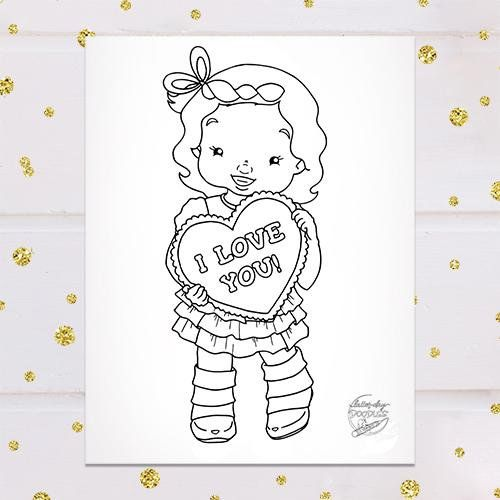 Valentine S Girl Coloring Page Coloring Pages For Littles