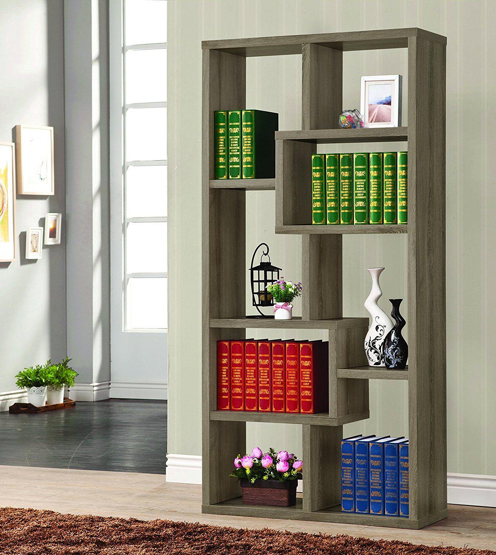 Amazoncom Coaster Contemporary Weathered Grey Multiple Cubed Rectangular Bookcase Kitchen