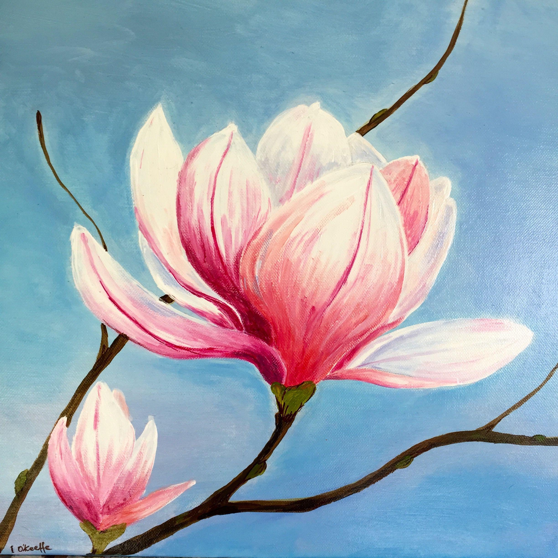 Magnolia Flower By Izabela Okeeffe Acrylic Painting
