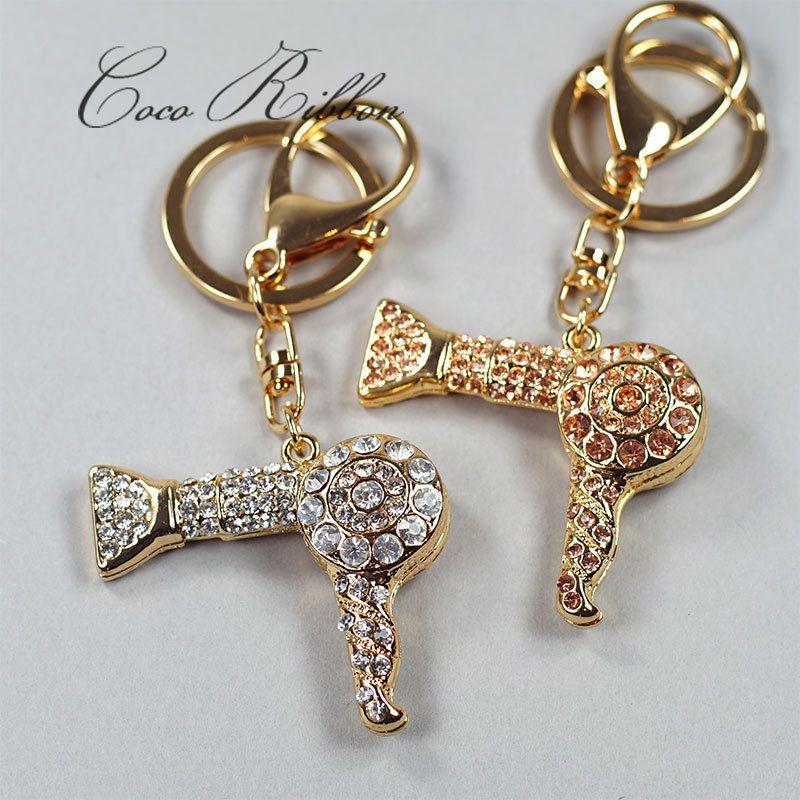 Key Ring w// Brilliant Cut Crystals Gold Tone High Heeled Shoe Key Chain