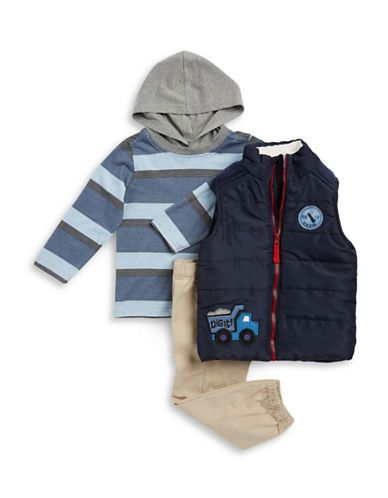Kids Headquarters Boys 2-7 Sherpa Trim Puffer Vest, Hooded Tee and Chi