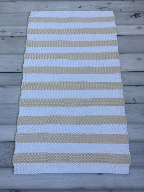 Throw Rugs Set White Beige Scandinavian Rug Rustic Floor Cotton Kitchen Nursery Bathroom Mat Woven Small