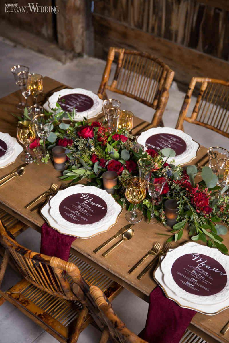 Rustic Burgundy Barn Wedding  Wedding table settings Red wedding