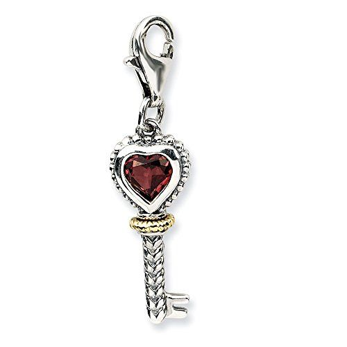 925 Sterling Silver 3-D Heart Cross /& Key w// Lobster Clasp Charm Amore La Vita Collection