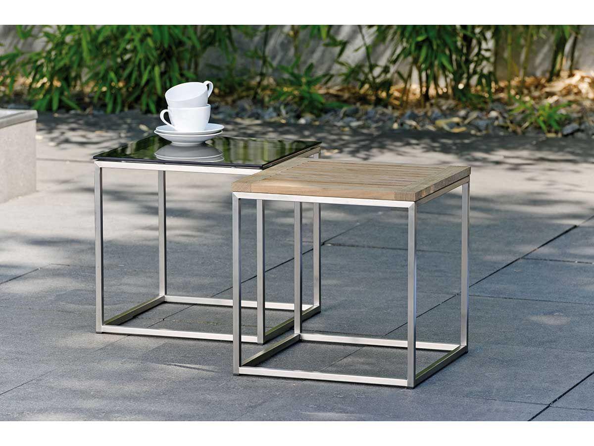 Stern Gartentisch Beistelltisch Edelstahl Teak 45x45 Cm Kaufen Im Borono Online Shop Wohnzimmertische Gartentisch Beistelltisch