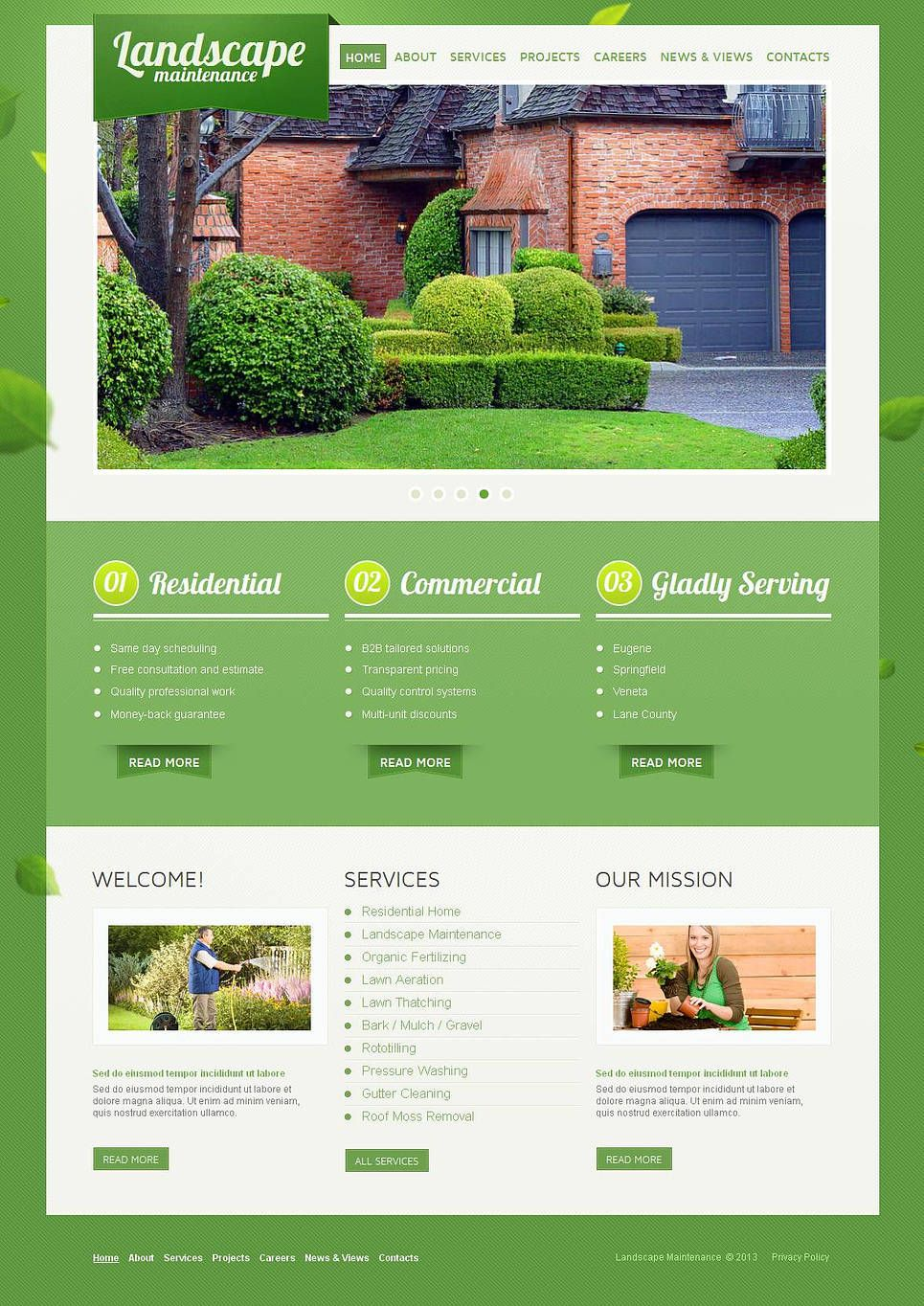 Landscape Design Moto Cms Html Template 43827 Corporate Flyer