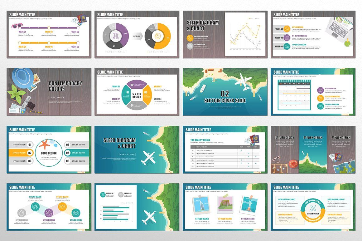 vacation powerpoint color variations size thumbnails backgrounds