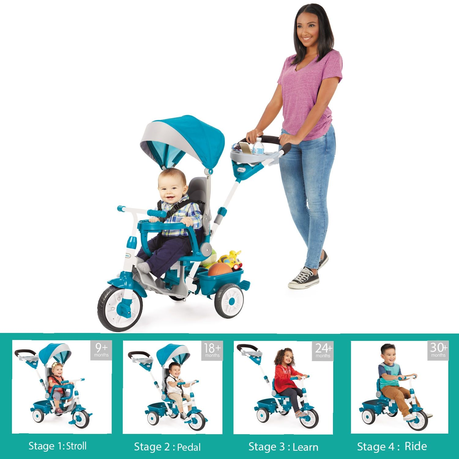 Perfect Fit™ 4in1 Trike Teal Toddler stroller