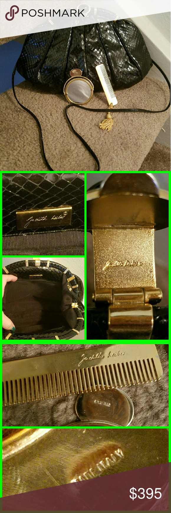 """Vintage JUDITH LEIBER Reptile Purse/ACCESSORIES ****RARE JUDITH LEIBER WITH ORIGINAL ACCESSORIES ****  AUTHENTIC 1980s JUDITH LEIBER Black Reptile shoulder bag (or Clutch!) in STUNNING VINTAGE CONDITION.   With Goldtone Signed hardware, this has original accessories- comb and mirror - with the Leiber signature. (Mirror also says MADE IN ITALY).   A Large 12"""" x 8"""" bag with 44"""" optional strap.   A VINTAGE DREAM BAG.....DO NOT MISS!! Vintage Bags Shoulder Bags"""