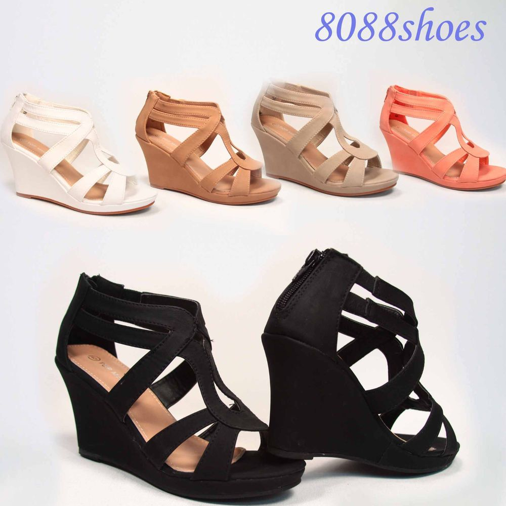 cb3f97fd3a50 Cute Strappy Open Toe Low Wedge Platform Heel Sandal Shoes Size 5 - 10 NEW