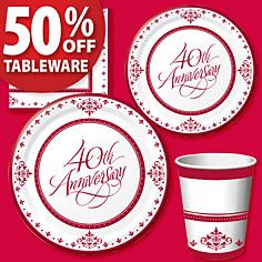 Ruby 40th Anniversary Party Supplies Decorations Invitations America
