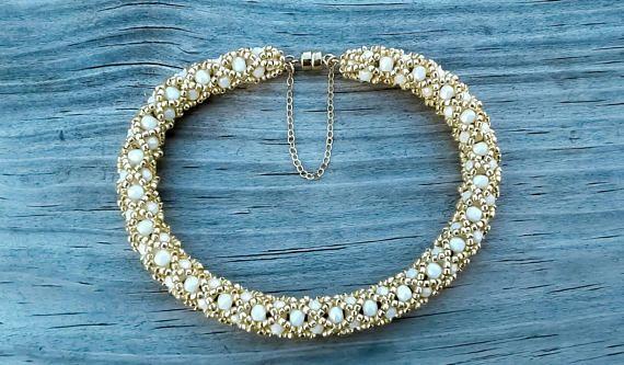 Alabaster White and Gold Beaded Bracelet 14k Gold Safety Chain 14k