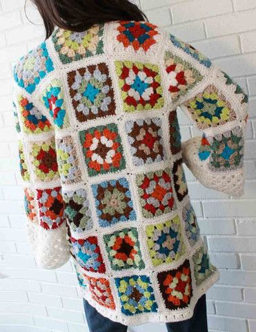 Granny Square Coat Crochet Pattern   Handarbeiten   Pinterest