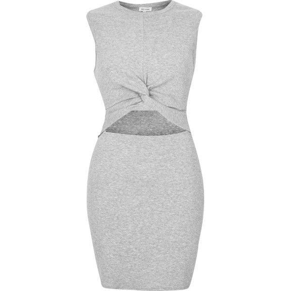 River Island Grey marl twist front tunic found on Polyvore featuring tops, tunics, dresses, grey, cutout tops, grey tunic, grey sleeveless top, twist front jersey top and crew top