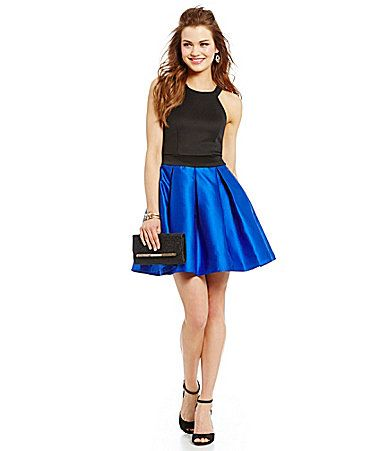 Teeze me sleeveless high neck color block dresses