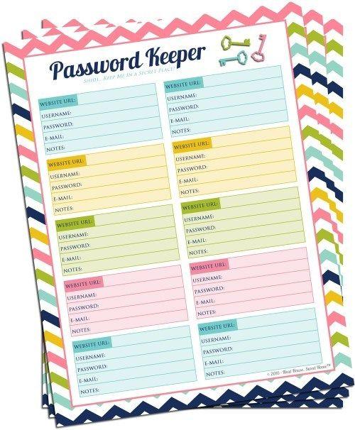 password keeper printable