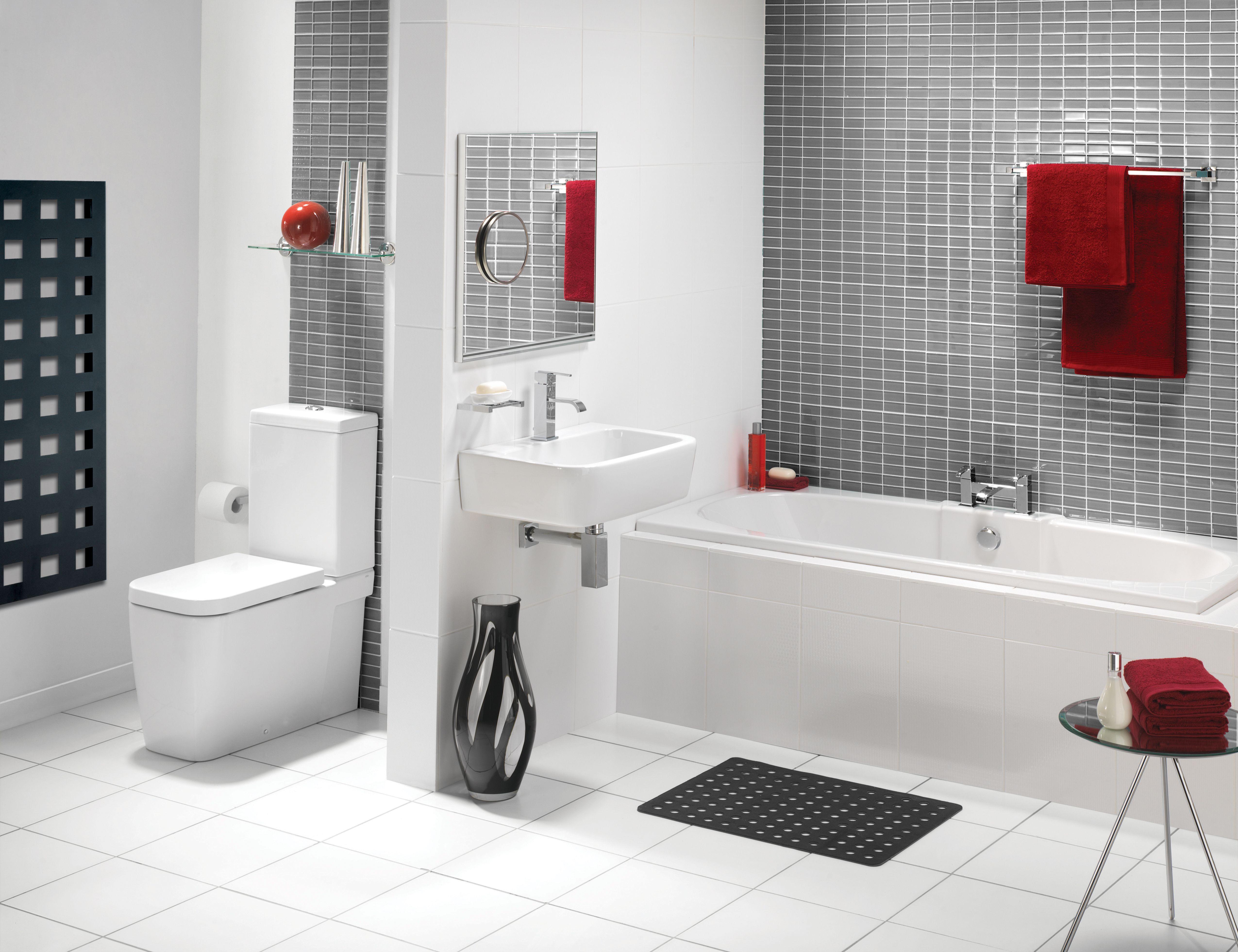 Modern White Bathroom Tile Rinet Com | My House | Pinterest ...
