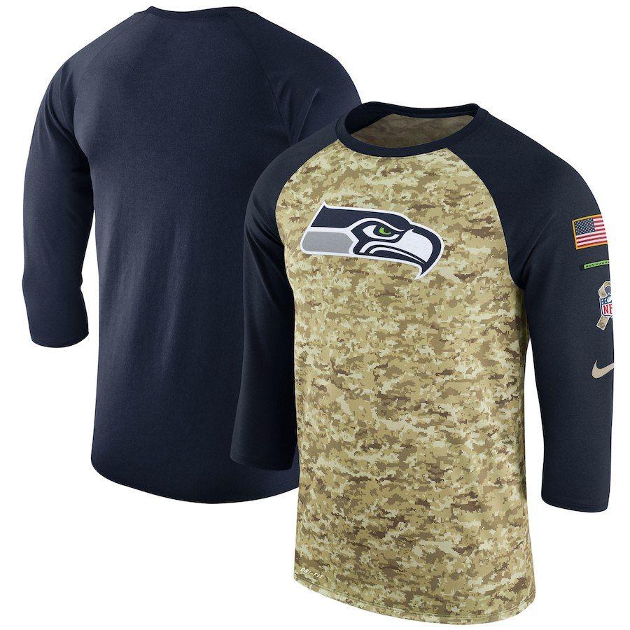 Seattle Seahawks Nike Salute to Service Sideline Legend Performance  Three-Quarter Sleeve T-Shirt – Camo College Navy a757b277b