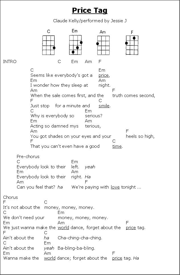Price Tag Chords : price, chords, UKULELE, Price, Canciones, Ukelele,, Canciones,, Ukulele