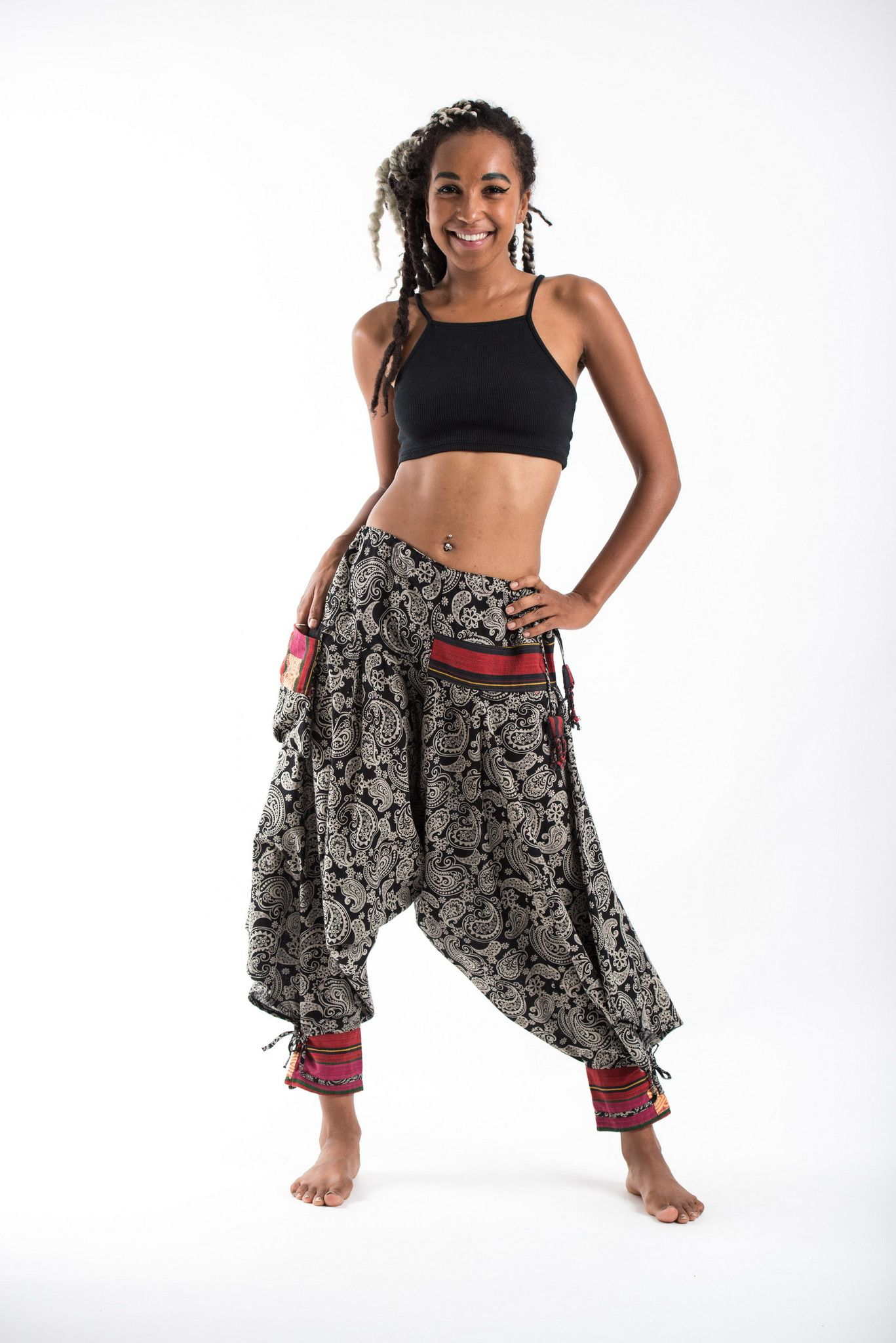 3b7c4ca66ac Paisley Hill Tribe Drawstring Women s Harem Pants with Ankle Straps
