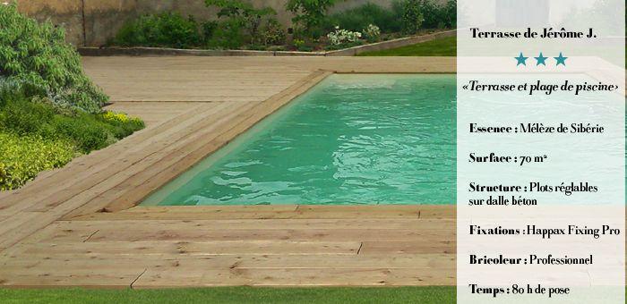 Construire une terrasse et une plage de piscine en Mélèze de Sibérie