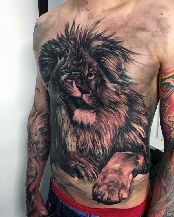Top 73 Lion Chest Tattoo Ideas 2020 Inspiration Guide Lion Chest Tattoo Tattoo Designs Men Fierce Animals
