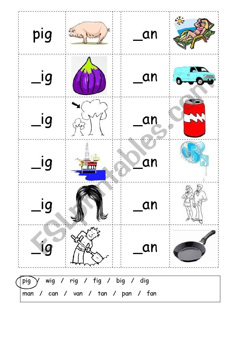 Phonics 3 letter words (CVC) Writing IG / AN ESL