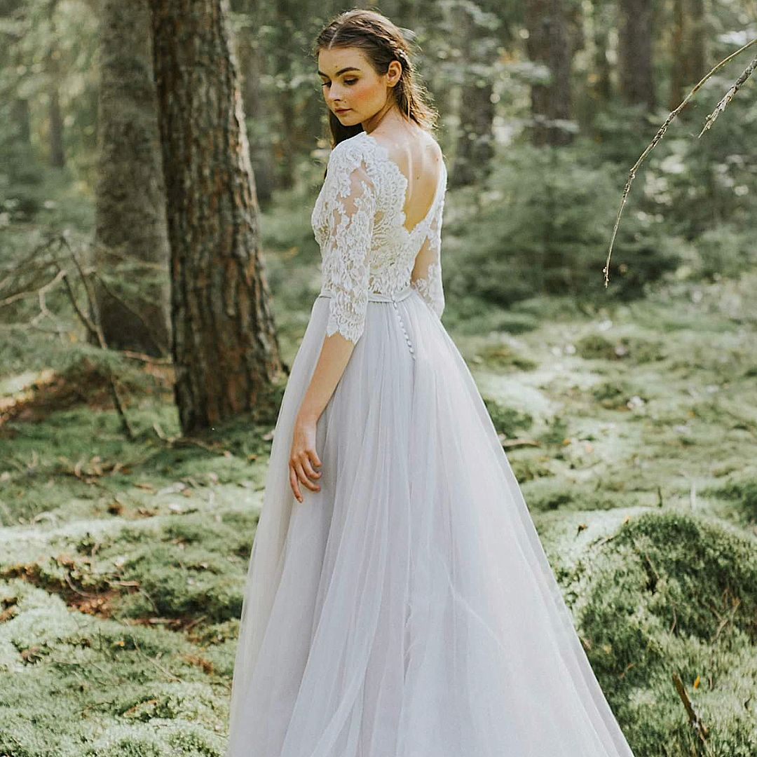 141ee0cd91f7 Bridal gown 1808 in color stone from Abby Waits. We love the vintage boho  feeling and the soft tulle skirt, do you?