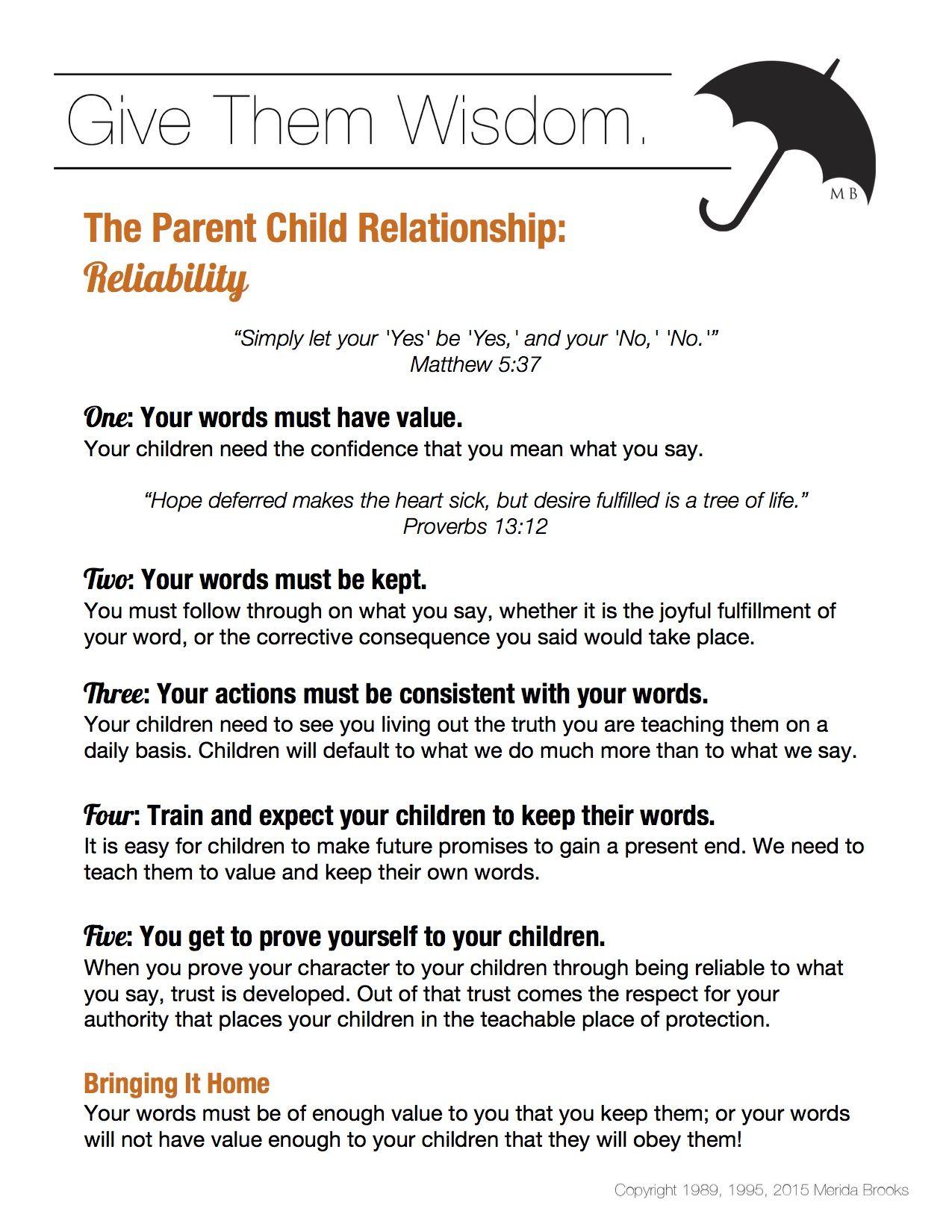 The Parent Child Relationship Reliability