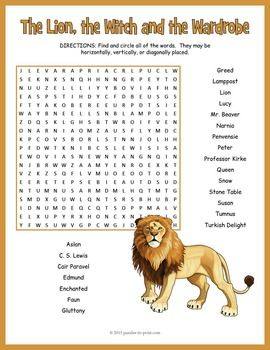 The Lion Witch And Wardrobe Word Search Worksheet Narnia Chronicle Of Essay