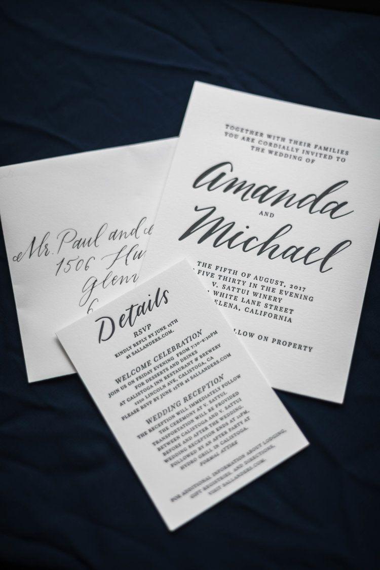 Navy blue custom wedding invitation by letterpress printer four hats
