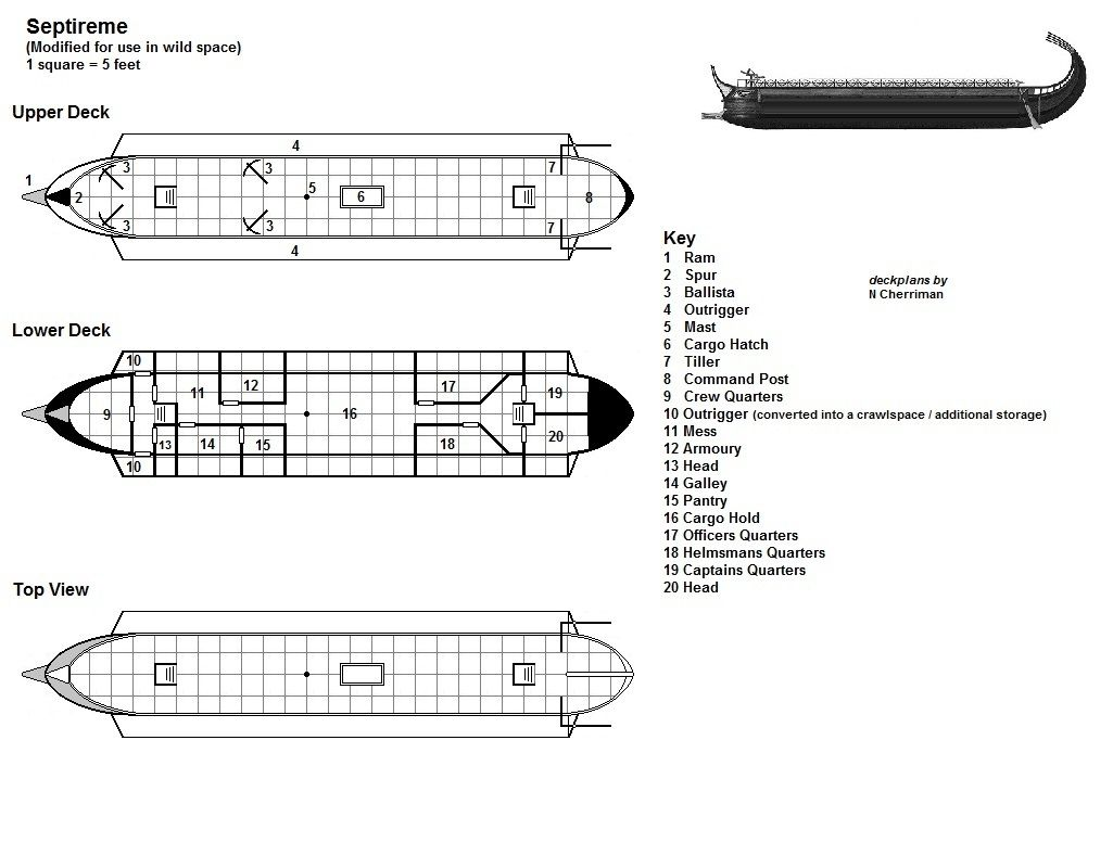 Septireme Deck Plans Warship Roleplaying Game