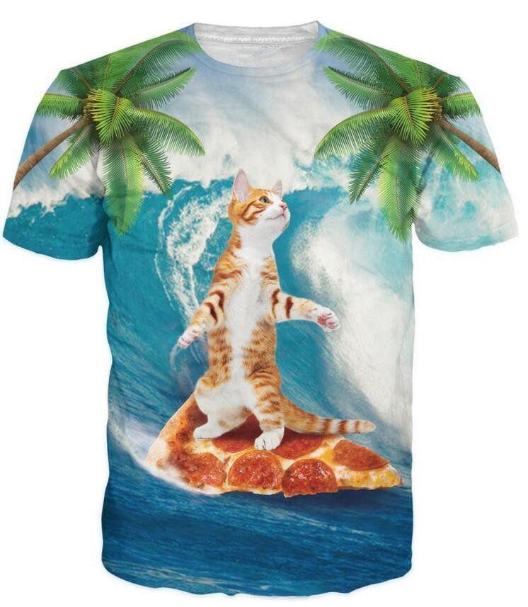 4b65f2890 Cute Kitty Cat Surfing on Pizza 3D Palm Tree Summer Fabulous T-Shirt ...