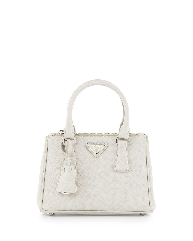 76a2347313ec Saffiano Lux Micro Tote Bag w Shoulder Strap