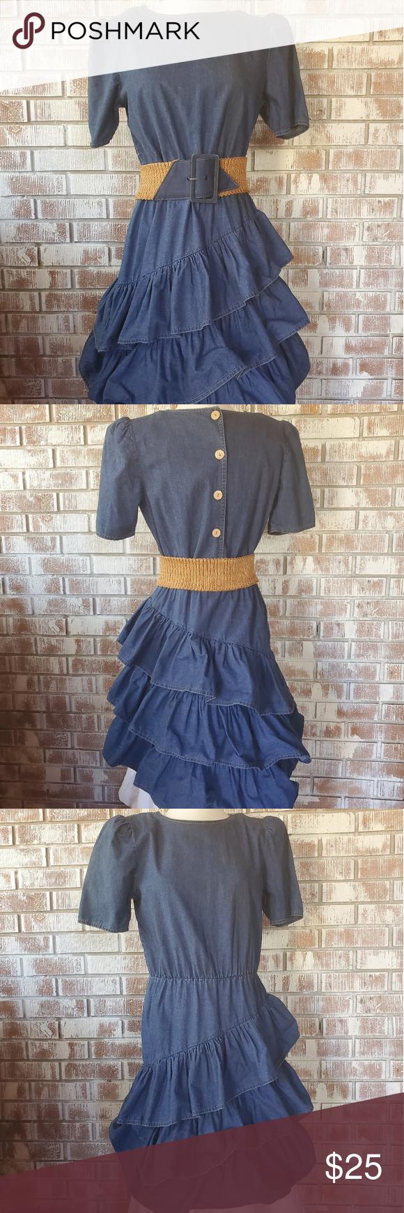 Vintage Denim Ruffle Dress Denim Ruffle Dress Vintage Denim Ruffle Dress [ 1740 x 580 Pixel ]