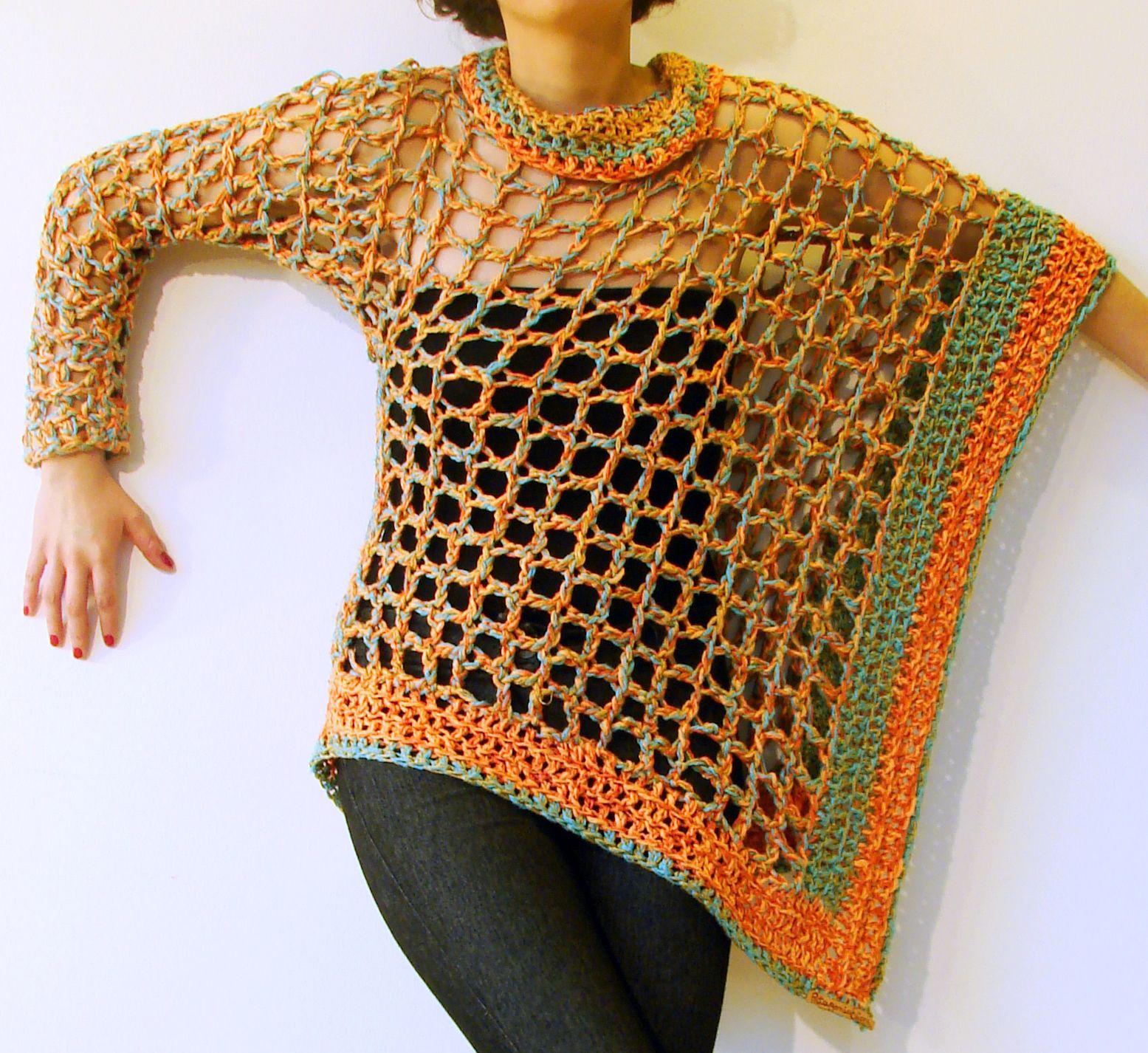 Poncho Una Manga Tejido A Crochet En Algodón Y Seda Túnica De Ganchillo Ponchos Tejidos Ropa