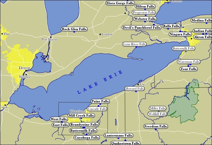Map Of Lake Erie Waterfalls Explore Lake Erie Ohio