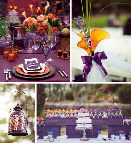 Eggplant And Red And Purple Wedding Ideas: Eggplant And Orange Wedding Decor